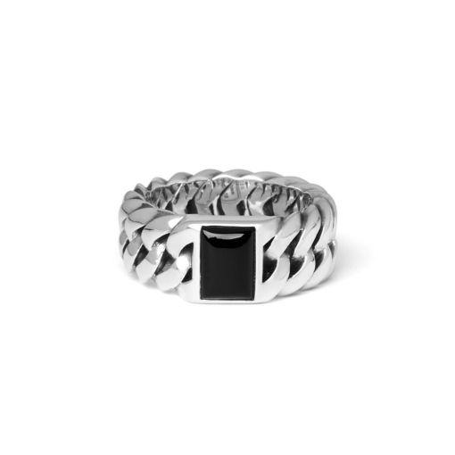 Buddha to Buddha Chain stone onyx ring dames en heren 925 sterling zilver Farfalla Rotterdam