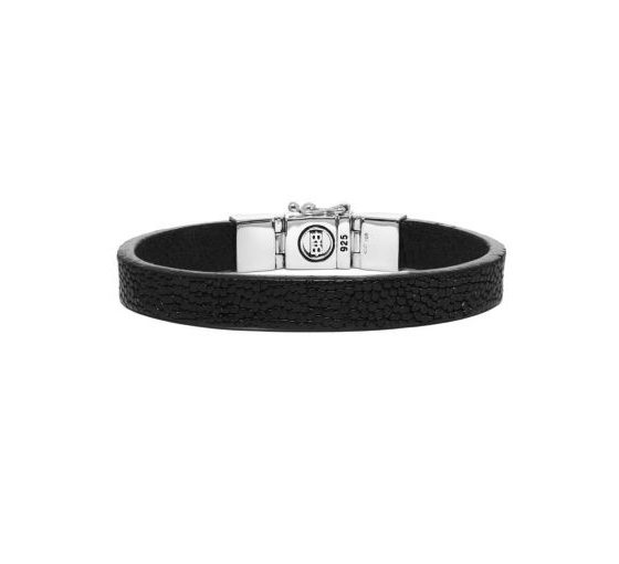 Buddha to Buddha armband essential leather texture black dames en heren 925 sterling zilver Farfalla Rotterdam