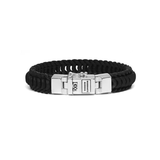 Buddha to Buddha armband Lars leather black dames en heren 925 sterling zilver Farfalla Rotterdam