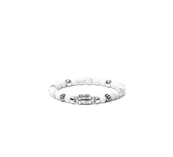 Buddha to Buddha armband spirit bead mini white howlite dames 925 sterling zilver Farfalla Rotterdam