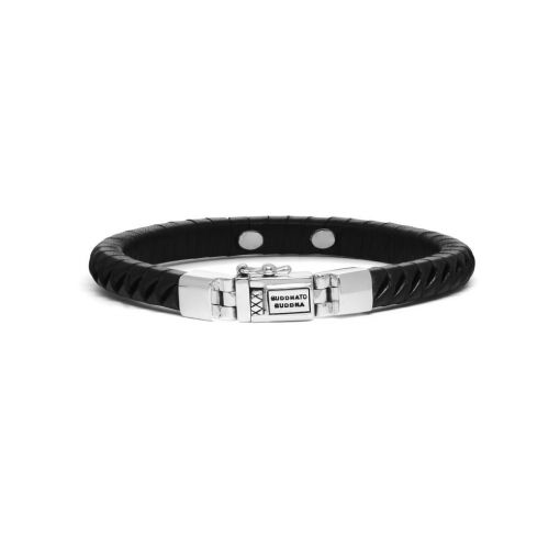 Buddha to Buddha armband Komang small leather black dames en heren 925 sterling zilver Farfalla Rotterdam