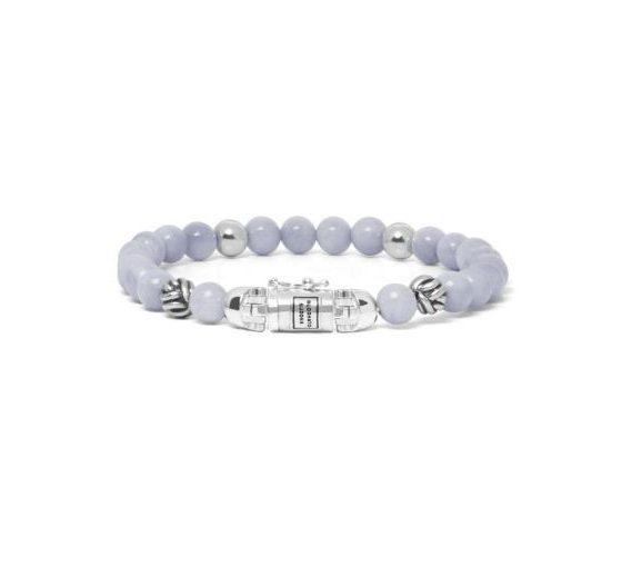 Buddha to Buddha armband spirit bead mini blue lace agate dames 925 sterling zilver Farfalla Rotterdam