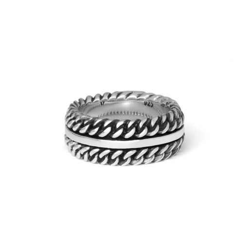 Buddha to Buddha Chain texture ring dames en heren 925 sterling zilver Farfalla Rotterdam