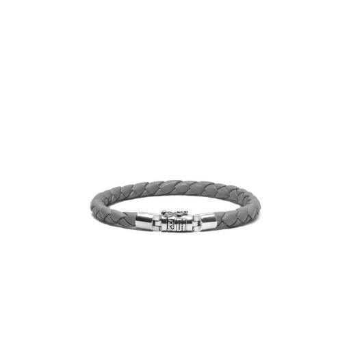 Buddha to Buddha armband Ben XS grijs leer dames 925 sterling zilver Farfalla Rotterdam