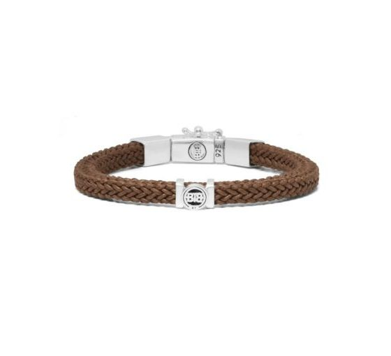 Buddha to Buddha armband Denise cord bruin dames en heren 925 sterling zilver Farfalla Rotterdam