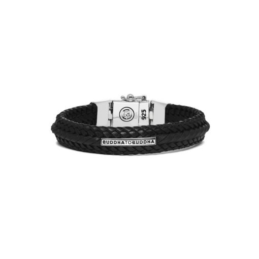 Buddha to Buddha armband Nurul small leather black dames en heren 925 sterling zilver Farfalla Rotterdam