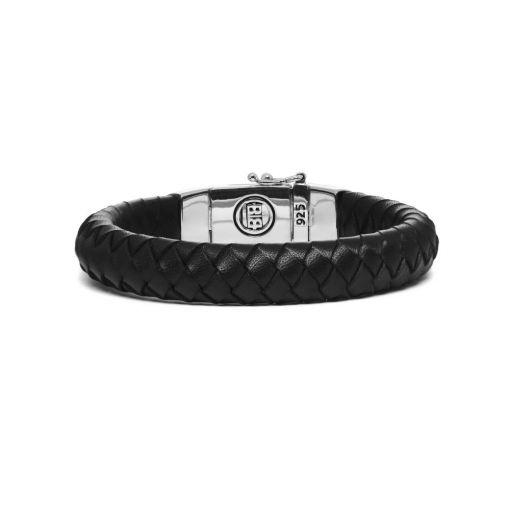 Buddha to Buddha armband Ben leer zwart dames en heren 925 sterling zilver Farfalla Rotterdam