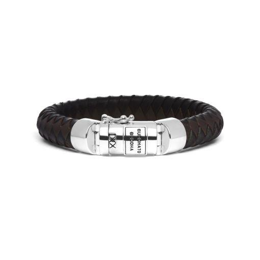 Buddha to Buddha armband leer zwart en bruin dames en heren 925 sterling zilver Farfalla Rotterdam