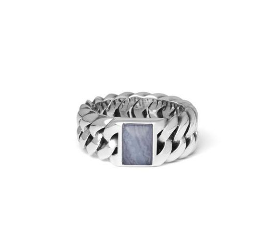 Buddha to Buddha Chain stone blue lace agate ring dames en heren 925 sterling zilver Farfalla Rotterdam