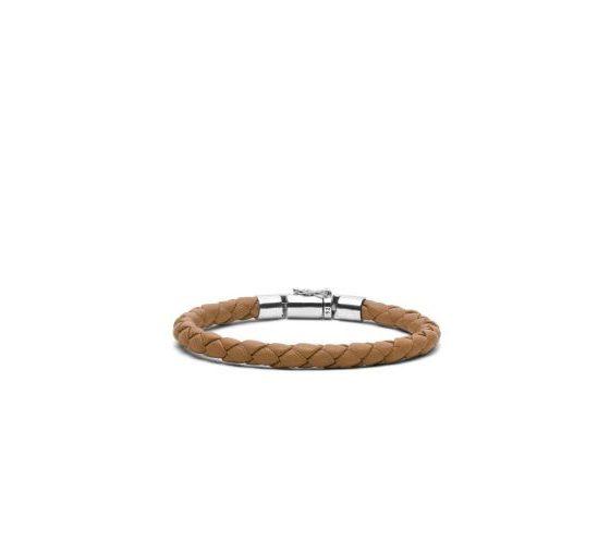 Buddha to Buddha armband leer Cognac heren 925 sterling zilver Farfalla Rotterdam