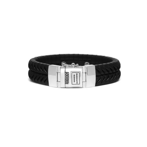 Buddha to Buddha armband Komang leather black dames en heren 925 sterling zilver Farfalla Rotterdam