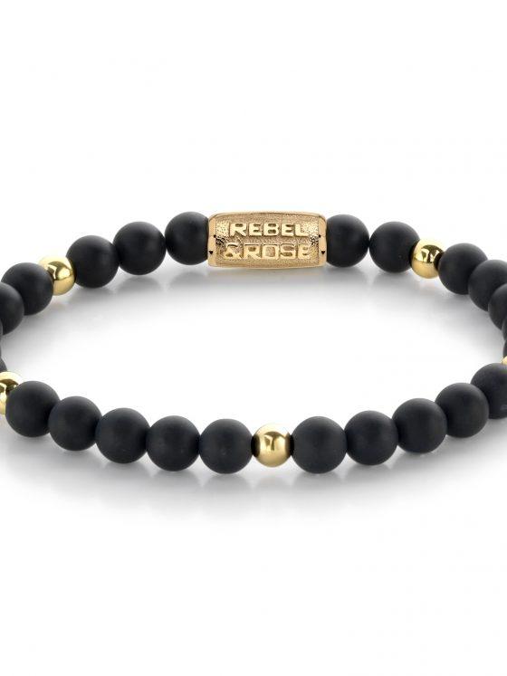 Rebel and Rose armband More Balls Than Most matt Black Madonna - 6mm - 18 ct yellow gold plated Dames Farfalla Rotterdam