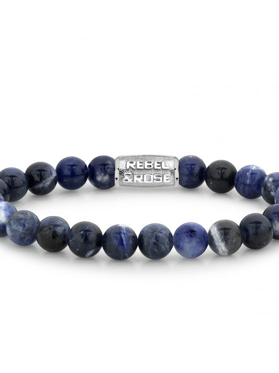 Rebel and Rose armband Stones Only Midnight Blue II - 8mm Dames Heren Farfalla Rotterdam
