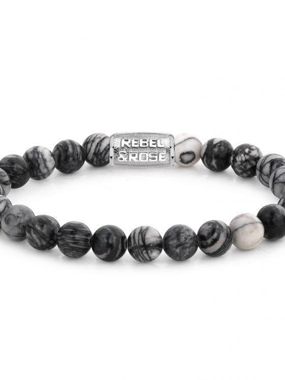 Rebel and Rose armband Stones Only Black Wolf 8mm Dames Heren Farfalla Rotterdam