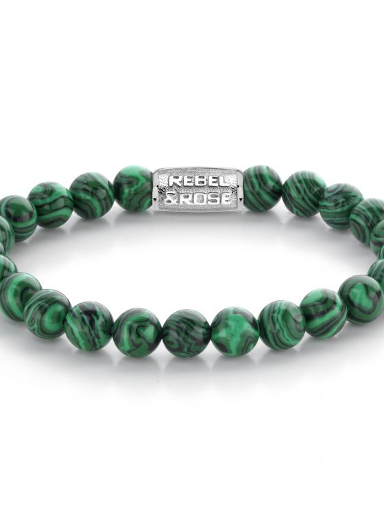 Rebel and Rose armband Stones Only Malachite Green 8mm Dames Heren Farfalla Rotterdam