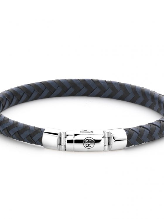 Rebel and Rose armband Absolutely Leather Half Round Braided Black-Blue Dames Heren Farfalla Rotterdam