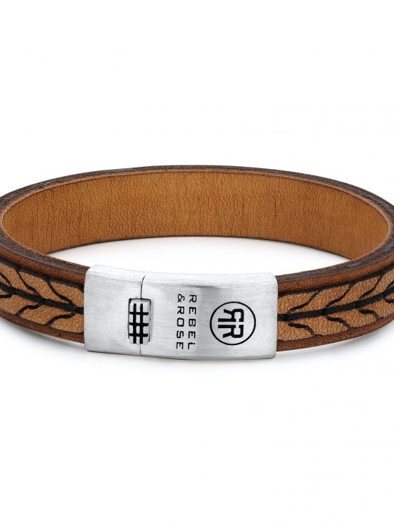 Rebel and Rose armband Absolutely Leather 2 Stranded 925 Cognac Heren Farfalla Rotterdam