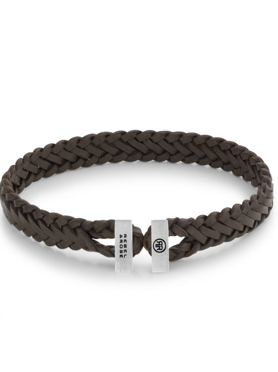 Rebel and Rose armband Connected in Leather Connected Woven Gordian Style Brown Dames Heren Farfalla Rotterdam