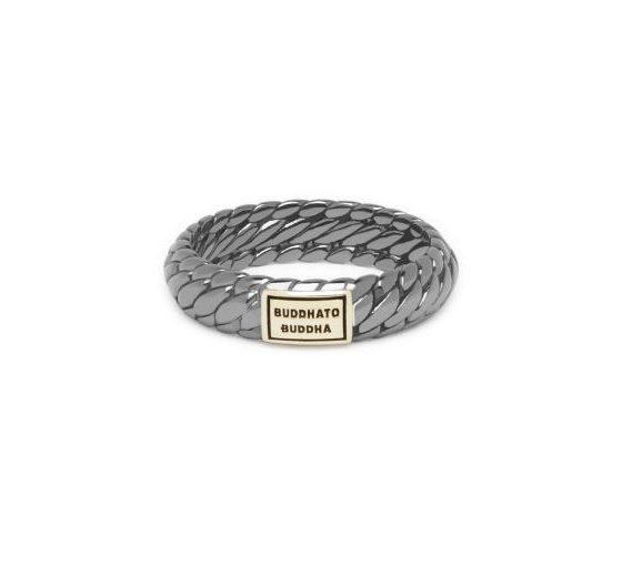 Buddha to Buddha ring Ben XS Black Rhodium Shine Gold dames en heren 925 sterling zilver Farfalla Rotterdam
