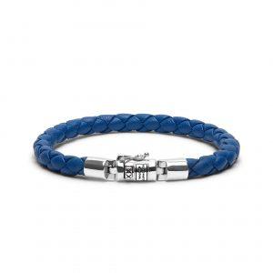 Buddha to Buddha armband dames sterling zilver blauw leer Farfalla Rotterdam