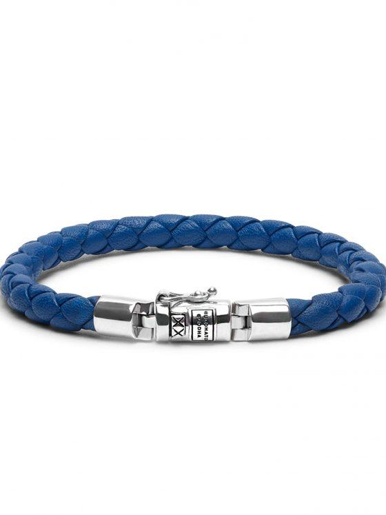 Buddha to Buddha armband Ben XS leer blue dames 925 sterling zilver Farfalla Rotterdam