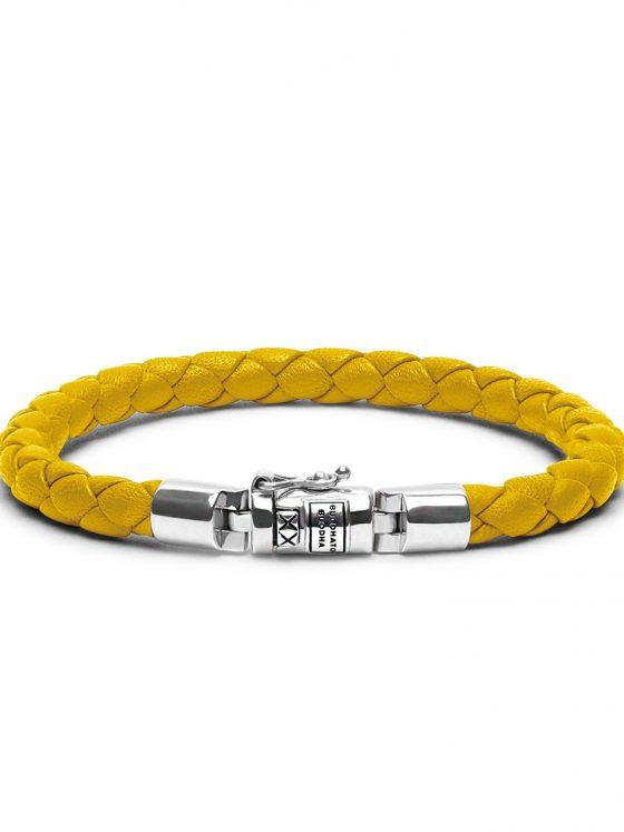 Buddha to Buddha armband Ben XS leer yellow dames 925 sterling zilver Farfalla Rotterdam