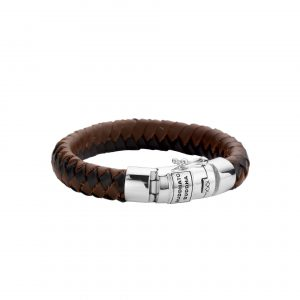 Buddha to Buddha armband dames heren sterling zilver zwart met bruin leer Farfalla Rotterdam