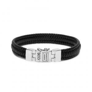 Buddha to Buddha armband dames heren sterling zilver zwart leer Farfalla Rotterdam