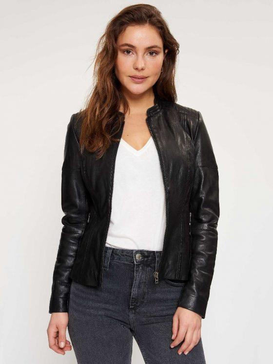 Goosecraft jacket leer dames black Farfalla Rotterdam
