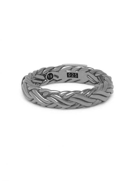 Buddha to Buddha ring Katja XS Black Rhodium Shine Silver dames en heren 925 sterling zilver Farfalla Rotterdam