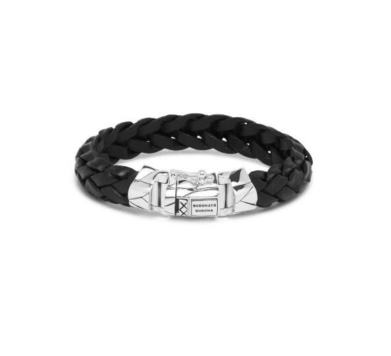 Buddha to Buddha armband Mangky Leather Black dames en heren 925 sterling zilver Farfalla Rotterdam