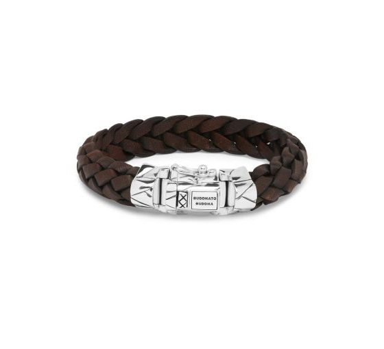 Buddha to Buddha armband Mangky Leather Brown dames en heren 925 sterling zilver Farfalla Rotterdam