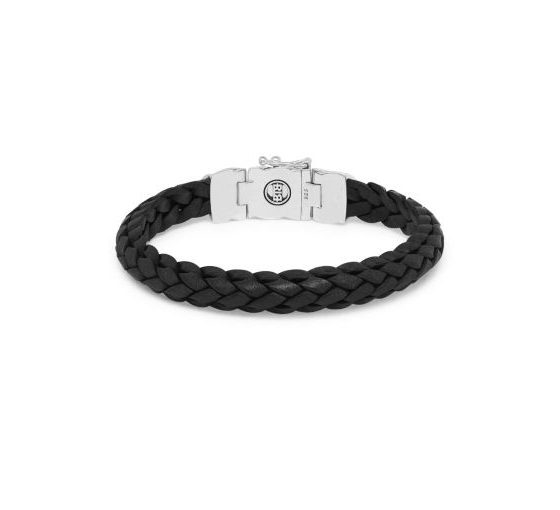 Buddha to Buddha armband Mangky Small Leather Black dames en heren 925 sterling zilver Farfalla Rotterdam