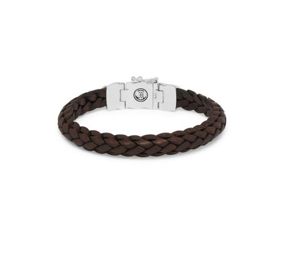 Buddha to Buddha armband Mangky Small Leather brown dames en heren 925 sterling zilver Farfalla Rotterdam