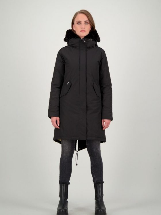 Airforce Double Zip Fishtail parka zwart dames wintercollectie Farfalla Rotterdam