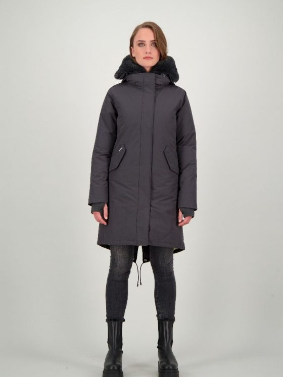 Airforce Double Zip Fishtail parka gun metal dames wintercollectie Farfalla Rotterdam